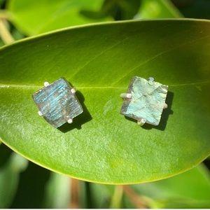 Sterling Silver Labradorite Studs Raw Earrings